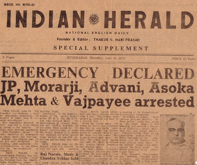 An Ugly Irony: The Present Government Felicitates those Who Fought the Emergency