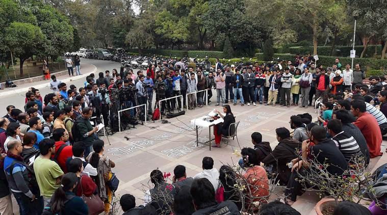 New Delhi: JNUSU Vice President Shehla Rashid addresses a press conference on the JNU campus in New Delhi on Friday. PTI Photo by Kamal Singh  (PTI2_19_2016_000246B)