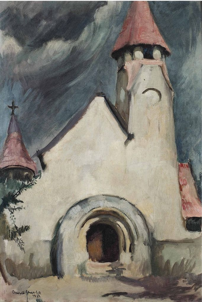 hungarian-village-church-amrita-sher-gil-paintings