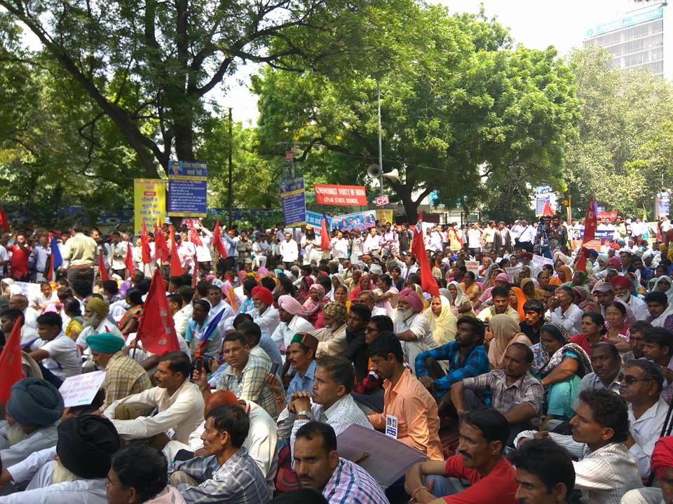 Red and Blue Flags Show the Way at Swabhiman Sangharsh Rally
