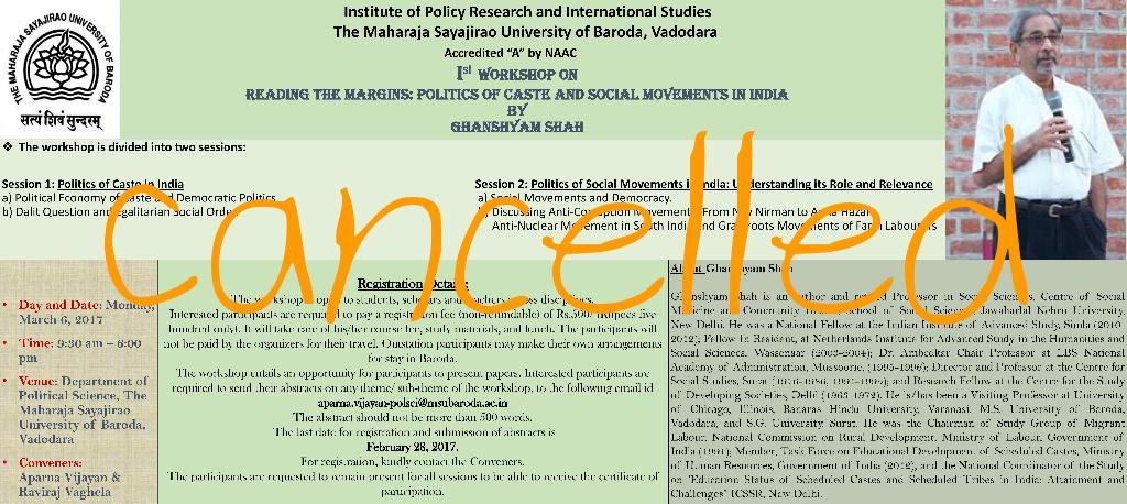The Fear of Discussion Spreads: MSU Baroda Cancels Workshop on Caste