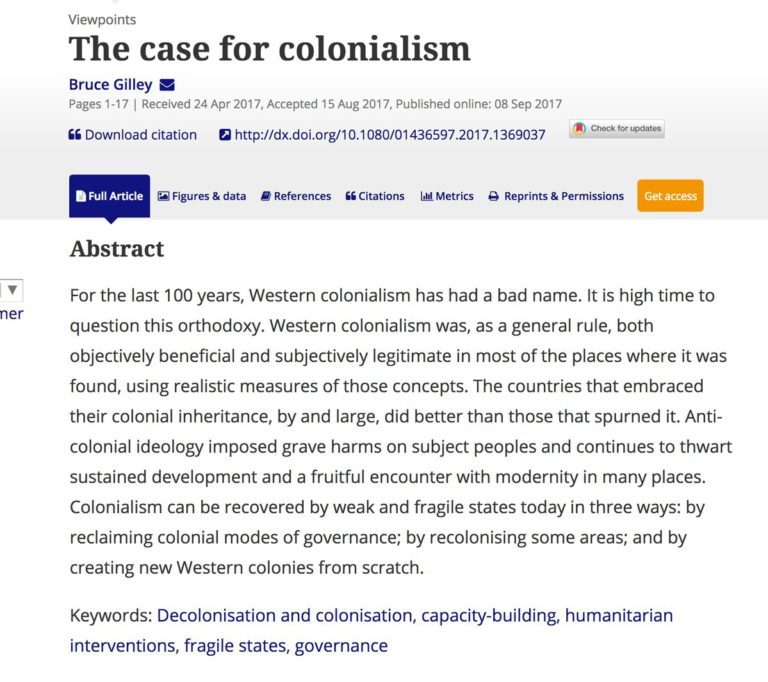 Third World Quarterly and a False Case for Colonialism