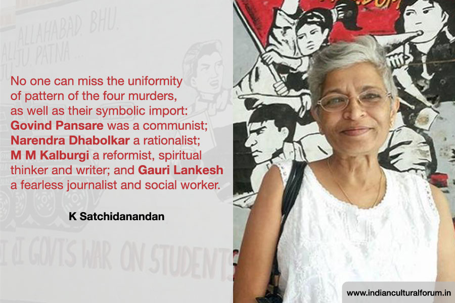 Writers, Academics Respond to Gauri Lankesh's Murder: K Satchidanandan