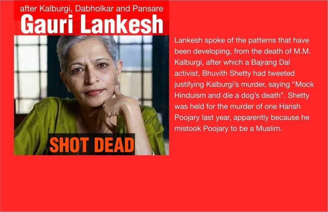 Hindu Terror Units Killed Gauri Lankesh