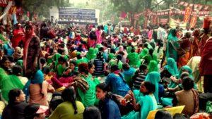 संसद मार्ग पर मजदूरों का महापड़ाव