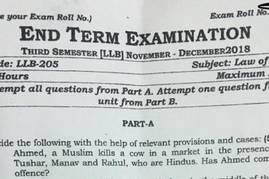 Communal Question about Cow Slaughter in Exam Paper sparks outrage
