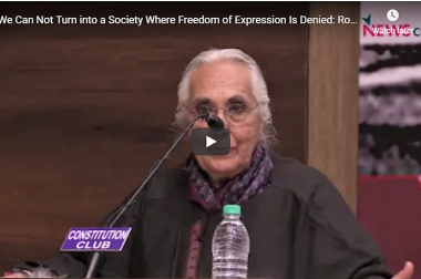 We Can Not Turn into a Society Where Freedom of Expression Is Denied: Romila Thapar
